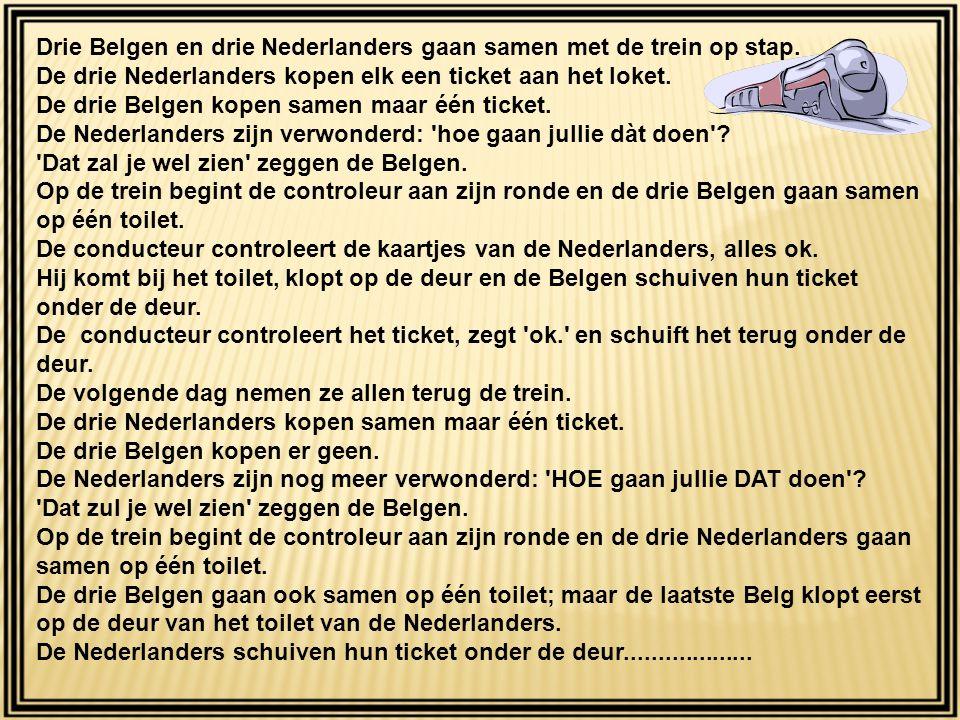 Drie Belgen en drie Nederlanders gaan samen met de trein op stap.