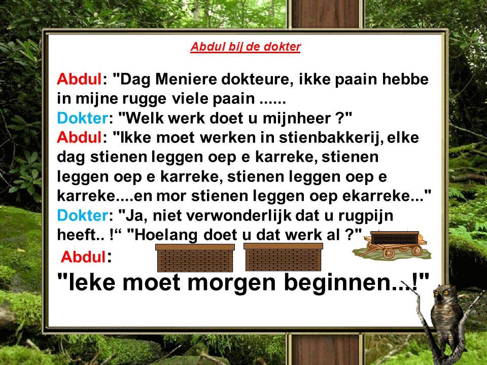 Abdul bij de dokter Abdul: Dag Meniere dokteure, ikke paain hebbe in mijne rugge viele paain......