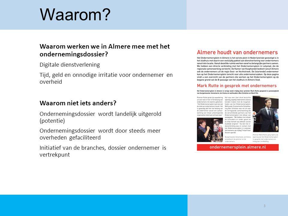 Waarom? Waarom werken we in Almere mee met het ondernemingsdossier? Digitale dienstverlening Tijd, geld en onnodige irritatie voor ondernemer en overh