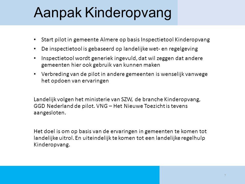Aanpak Kinderopvang Start pilot in gemeente Almere op basis Inspectietool Kinderopvang De inspectietool is gebaseerd op landelijke wet- en regelgeving