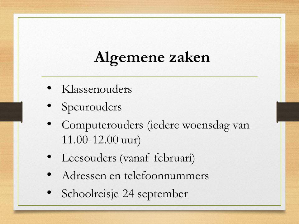 Algemene zaken Klassenouders Speurouders Computerouders (iedere woensdag van 11.00-12.00 uur) Leesouders (vanaf februari) Adressen en telefoonnummers