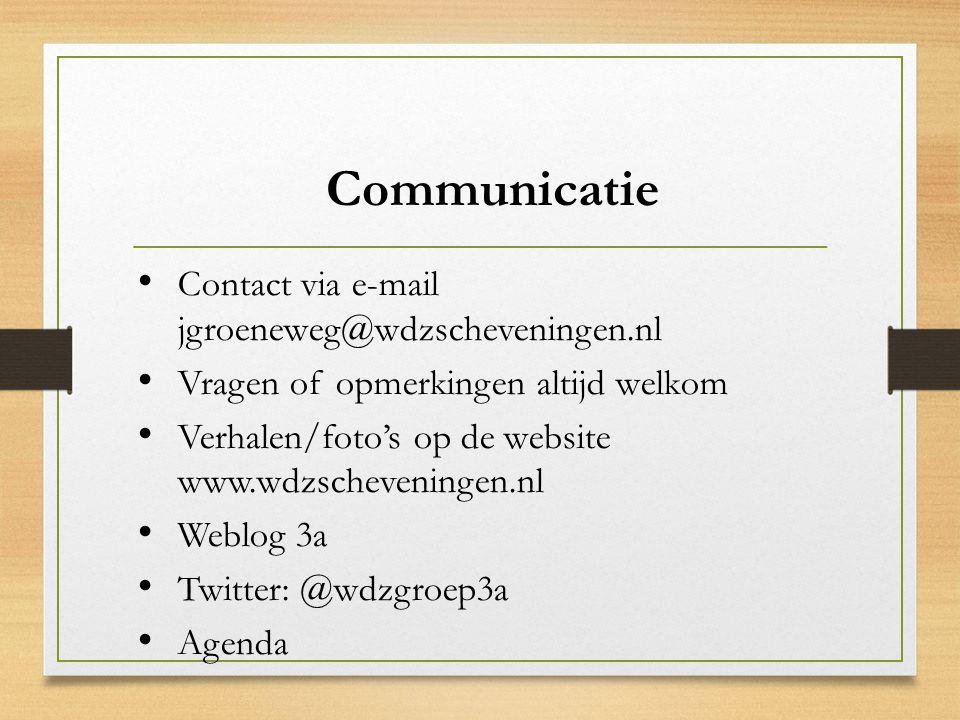 Communicatie Contact via e-mail jgroeneweg@wdzscheveningen.nl Vragen of opmerkingen altijd welkom Verhalen/foto's op de website www.wdzscheveningen.nl