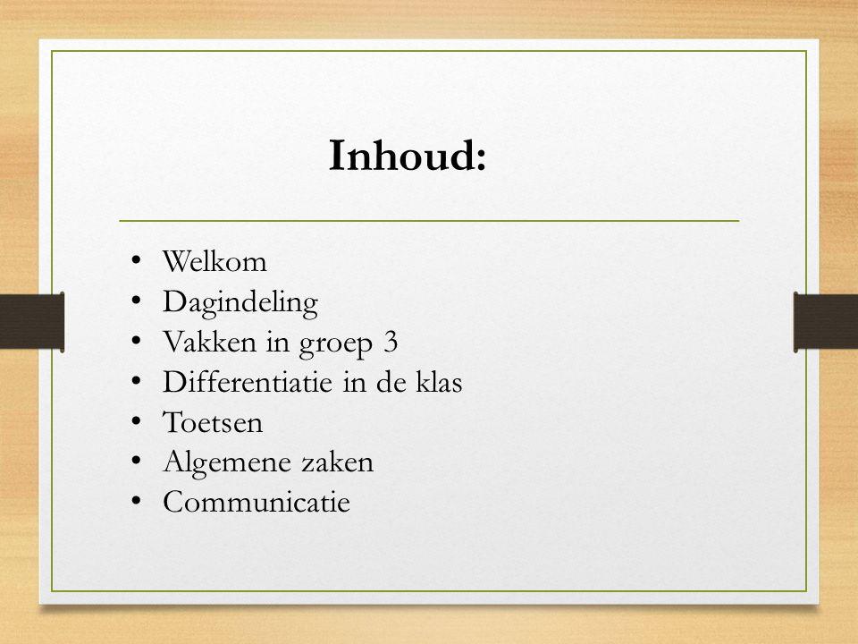 Inhoud: Welkom Dagindeling Vakken in groep 3 Differentiatie in de klas Toetsen Algemene zaken Communicatie