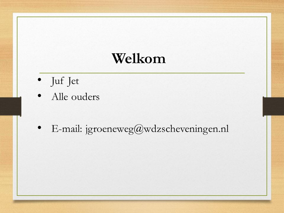 Judith Poelman Intern begeleider Coördinator middenbouw jpoelman@wdzscheveningen.nl Dinsdagmiddag en donderdag ambulant