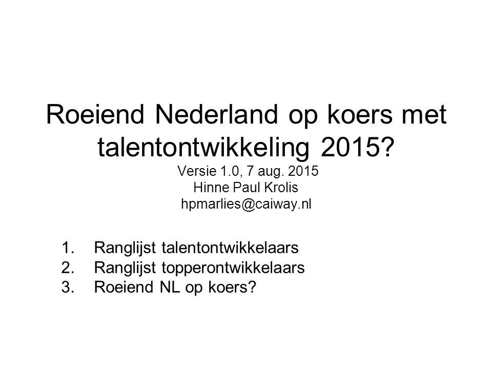 Roeiend Nederland op koers met talentontwikkeling 2015? Versie 1.0, 7 aug. 2015 Hinne Paul Krolis hpmarlies@caiway.nl 1.Ranglijst talentontwikkelaars