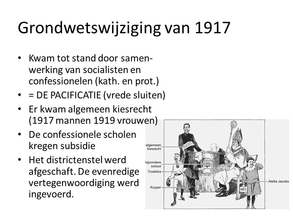 Grondwetswijziging van 1917 Kwam tot stand door samen- werking van socialisten en confessionelen (kath.