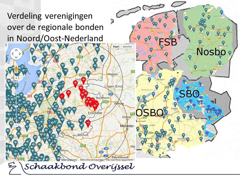 Verdeling verenigingen over de regionale bonden in Noord/Oost-Nederland