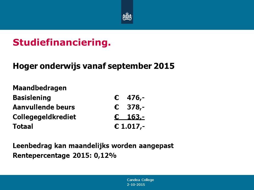 2-10-2015 Studiefinanciering. Hoger onderwijs vanaf september 2015 Maandbedragen Basislening € 476,- Aanvullende beurs € 378,- Collegegeldkrediet € 16