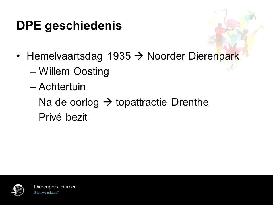 DPE geschiedenis Hemelvaartsdag 1935  Noorder Dierenpark –Willem Oosting –Achtertuin –Na de oorlog  topattractie Drenthe –Privé bezit