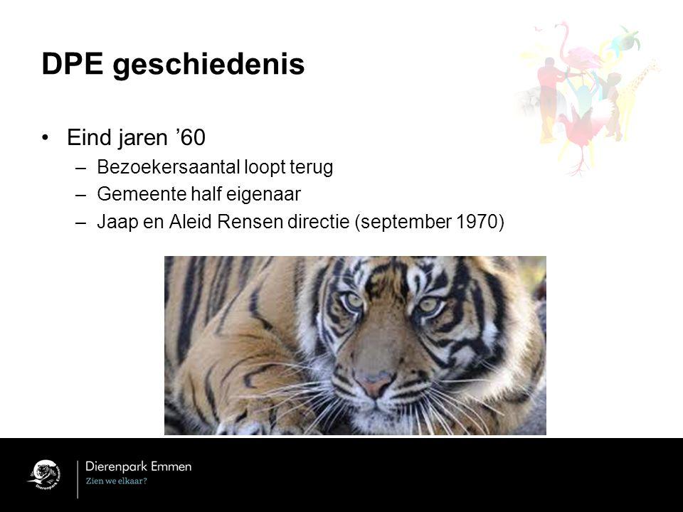 DPE geschiedenis Eind jaren '60 –Bezoekersaantal loopt terug –Gemeente half eigenaar –Jaap en Aleid Rensen directie (september 1970)