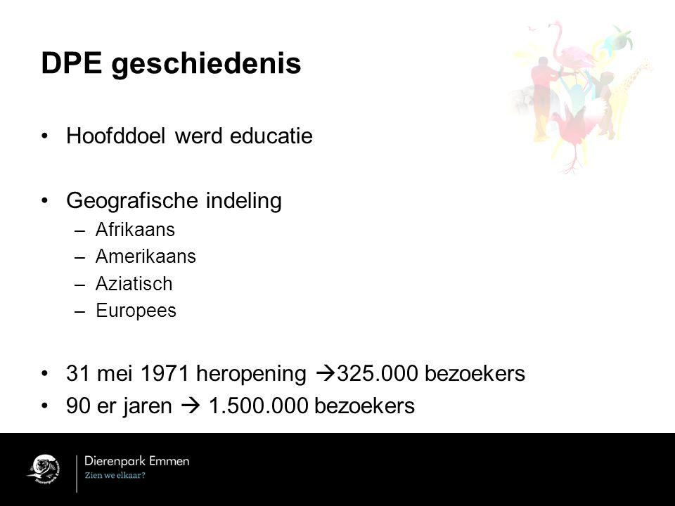 DPE geschiedenis Hoofddoel werd educatie Geografische indeling –Afrikaans –Amerikaans –Aziatisch –Europees 31 mei 1971 heropening  325.000 bezoekers 90 er jaren  1.500.000 bezoekers