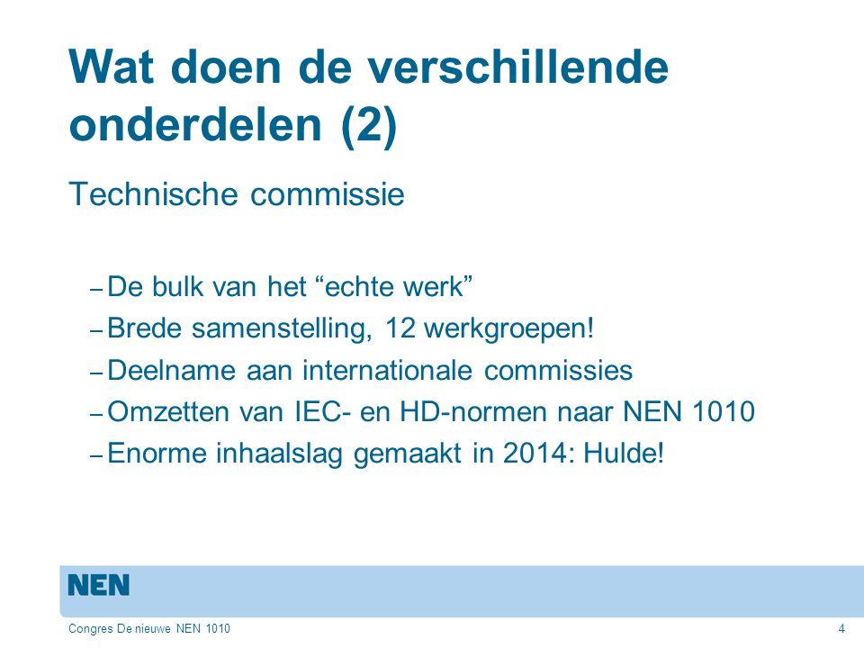 Congres De nieuwe NEN 10104 Wat doen de verschillende onderdelen (2) Technische commissie – De bulk van het echte werk – Brede samenstelling, 12 werkgroepen.