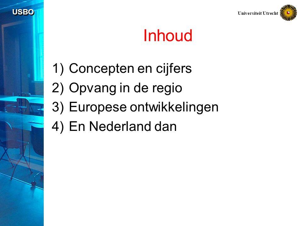 USBO Universiteit Utrecht Inhoud 1)Concepten en cijfers 2)Opvang in de regio 3)Europese ontwikkelingen 4)En Nederland dan