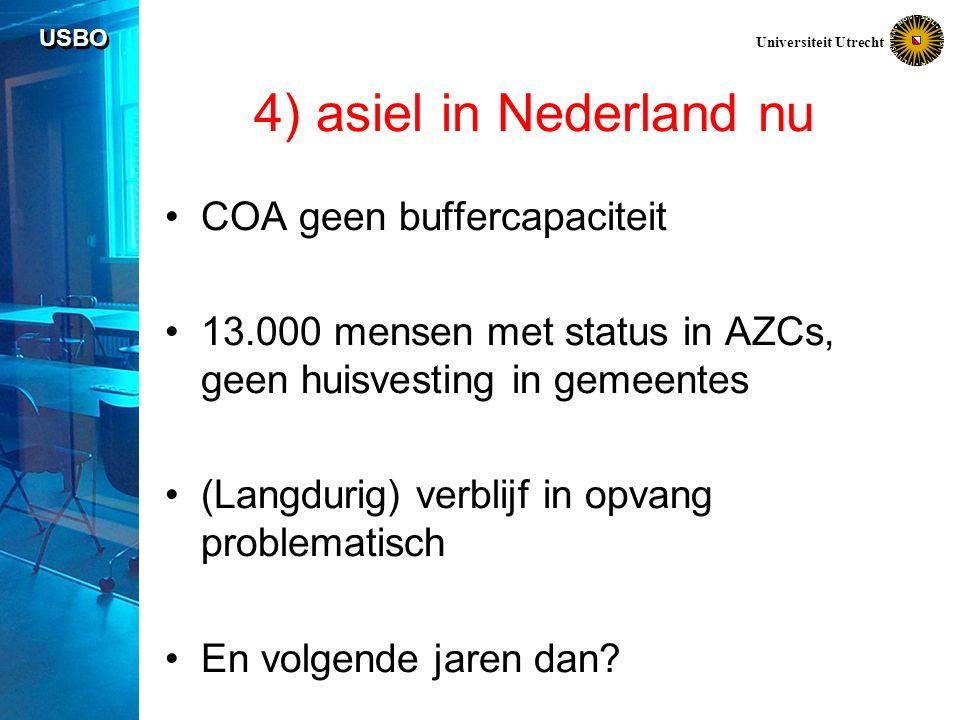 USBO Universiteit Utrecht 4) asiel in Nederland nu COA geen buffercapaciteit 13.000 mensen met status in AZCs, geen huisvesting in gemeentes (Langdurig) verblijf in opvang problematisch En volgende jaren dan