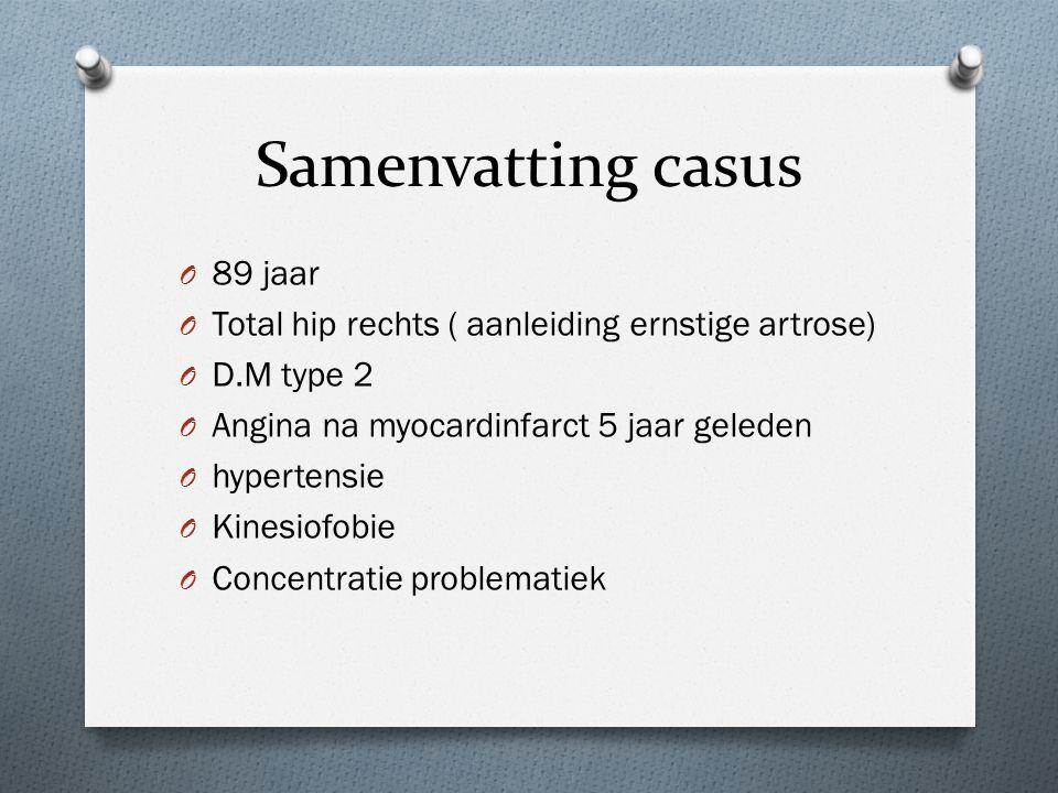 Samenvatting casus O 89 jaar O Total hip rechts ( aanleiding ernstige artrose) O D.M type 2 O Angina na myocardinfarct 5 jaar geleden O hypertensie O