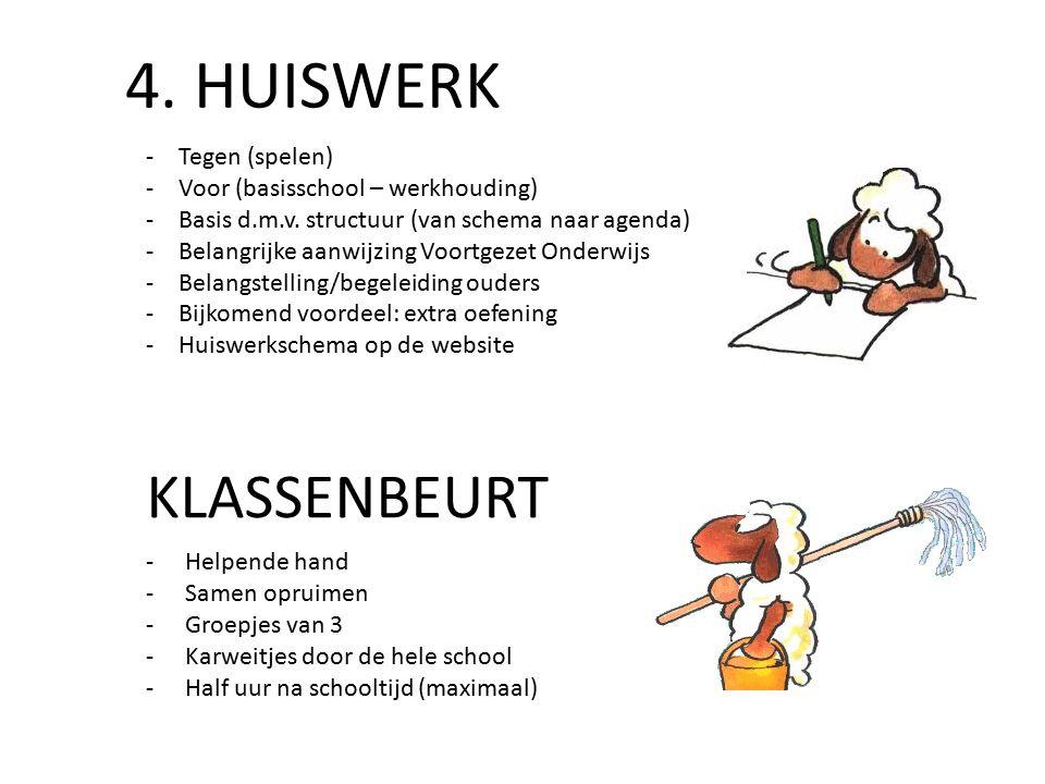 4. HUISWERK -Helpende hand -Samen opruimen -Groepjes van 3 -Karweitjes door de hele school -Half uur na schooltijd (maximaal) KLASSENBEURT ‐Tegen (spe