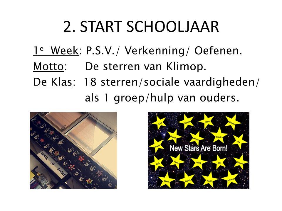 1 e Week: P.S.V./ Verkenning/ Oefenen. Motto: De sterren van Klimop. De Klas: 18 sterren/sociale vaardigheden/ als 1 groep/hulp van ouders. 2. START S