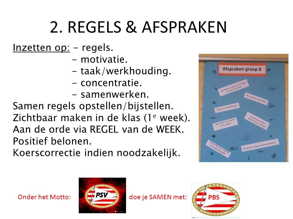 2. REGELS & AFSPRAKEN Inzetten op: - regels. - motivatie. - taak/werkhouding. - concentratie. - samenwerken. Samen regels opstellen/bijstellen. Zichtb