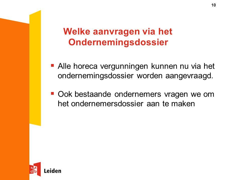 Welke aanvragen via het Ondernemingsdossier 10  Alle horeca vergunningen kunnen nu via het ondernemingsdossier worden aangevraagd.
