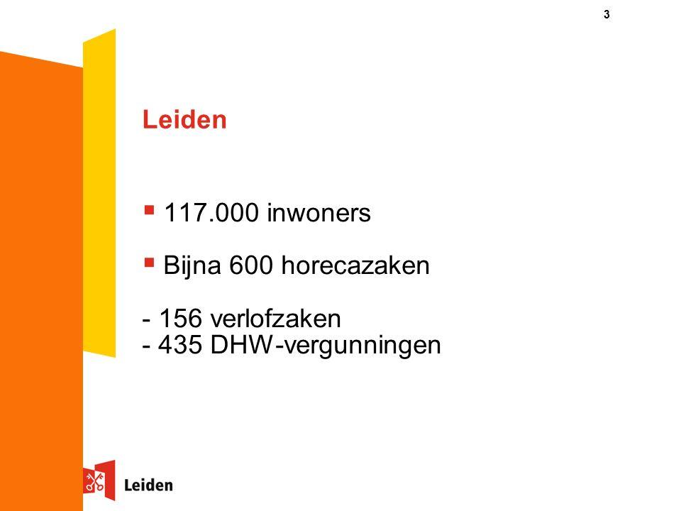 Leiden  117.000 inwoners  Bijna 600 horecazaken - 156 verlofzaken - 435 DHW-vergunningen 3