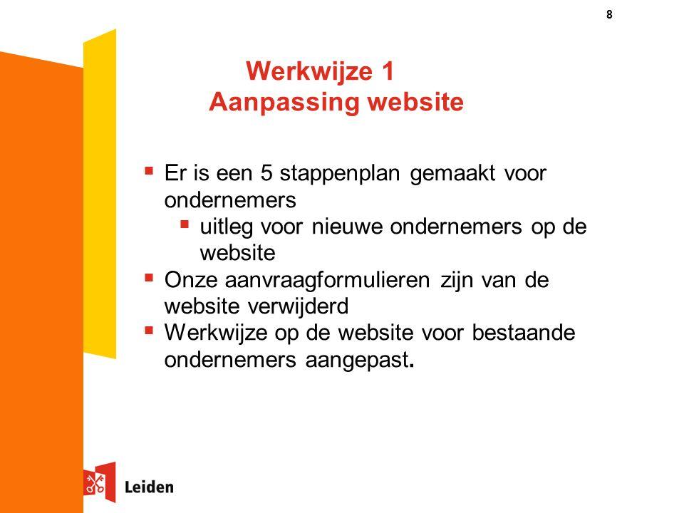 Werkwijze 1 Aanpassing website  Er is een 5 stappenplan gemaakt voor ondernemers  uitleg voor nieuwe ondernemers op de website  Onze aanvraagformulieren zijn van de website verwijderd  Werkwijze op de website voor bestaande ondernemers aangepast.