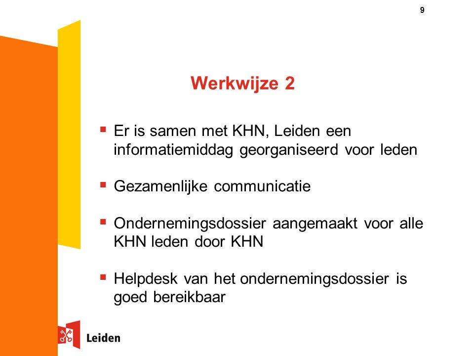 Werkwijze 2  Er is samen met KHN, Leiden een informatiemiddag georganiseerd voor leden  Gezamenlijke communicatie  Ondernemingsdossier aangemaakt voor alle KHN leden door KHN  Helpdesk van het ondernemingsdossier is goed bereikbaar 9