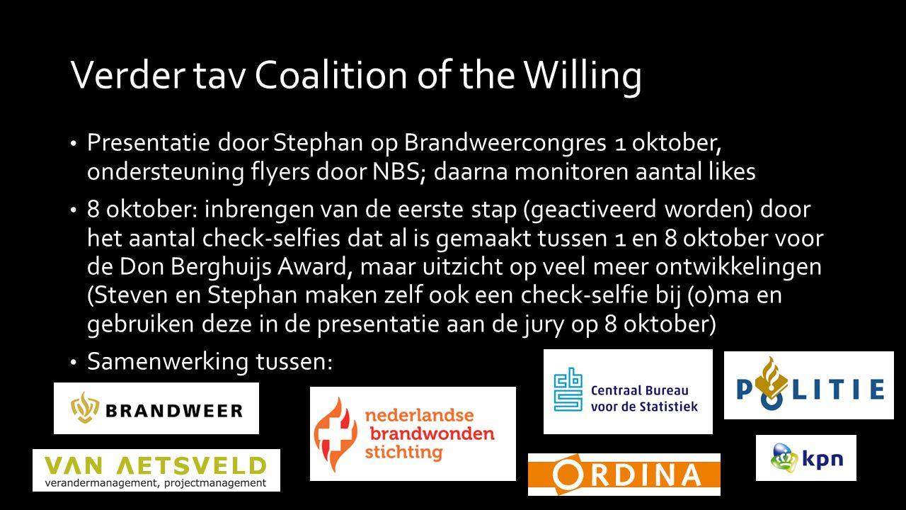 Verder tav Coalition of the Willing Presentatie door Stephan op Brandweercongres 1 oktober, ondersteuning flyers door NBS; daarna monitoren aantal lik