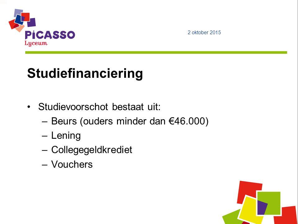 Studiefinanciering Studievoorschot bestaat uit: –Beurs (ouders minder dan €46.000) –Lening –Collegegeldkrediet –Vouchers 2 oktober 2015