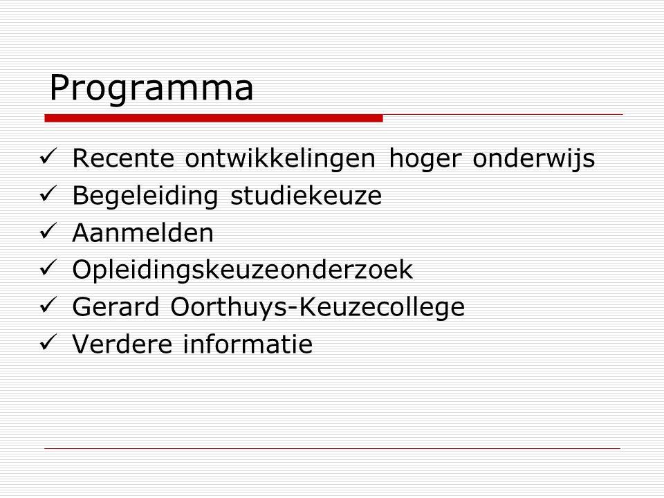 Programma Recente ontwikkelingen hoger onderwijs Begeleiding studiekeuze Aanmelden Opleidingskeuzeonderzoek Gerard Oorthuys-Keuzecollege Verdere infor