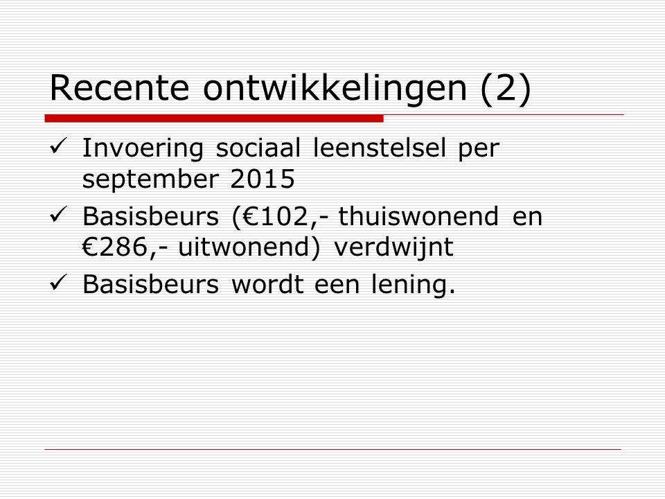 Recente ontwikkelingen (2) Invoering sociaal leenstelsel per september 2015 Basisbeurs (€102,- thuiswonend en €286,- uitwonend) verdwijnt Basisbeurs w