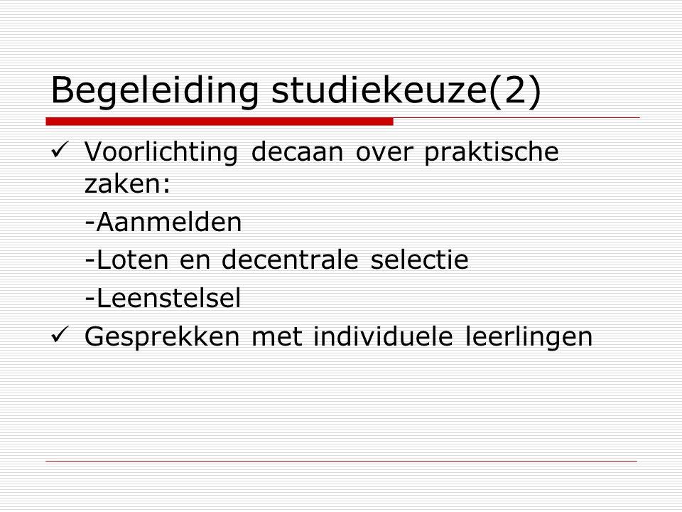 Begeleiding studiekeuze(2) Voorlichting decaan over praktische zaken: -Aanmelden -Loten en decentrale selectie -Leenstelsel Gesprekken met individuele