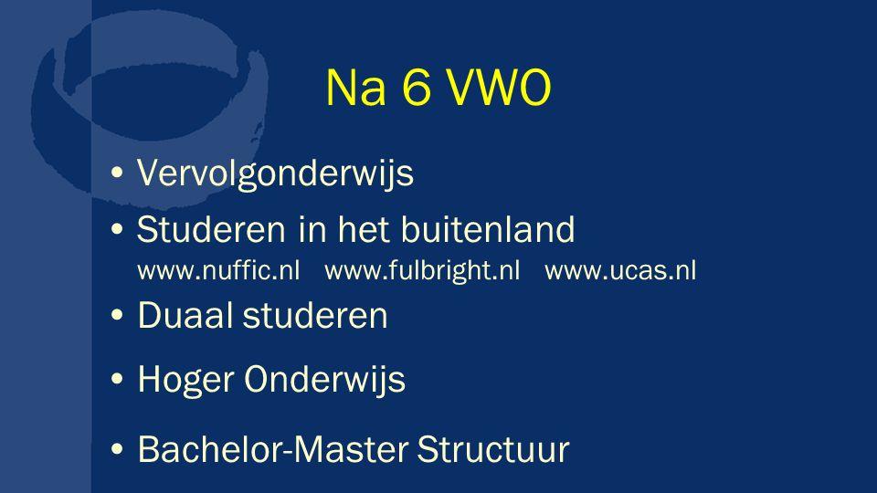 Na 6 VWO Vervolgonderwijs Studeren in het buitenland www.nuffic.nl www.fulbright.nl www.ucas.nl Duaal studeren Hoger Onderwijs Bachelor-Master Structuur