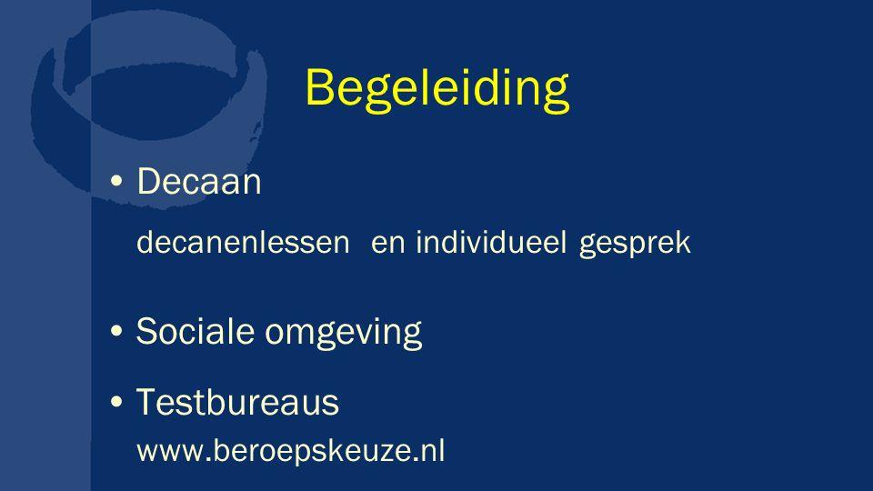 Begeleiding Decaan decanenlessen en individueel gesprek Sociale omgeving Testbureaus www.beroepskeuze.nl