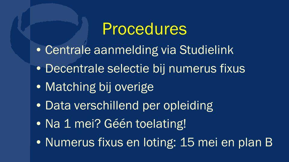 Procedures Centrale aanmelding via Studielink Decentrale selectie bij numerus fixus Matching bij overige Data verschillend per opleiding Na 1 mei? Géé