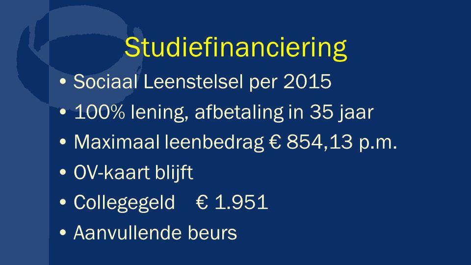 Studiefinanciering Sociaal Leenstelsel per 2015 100% lening, afbetaling in 35 jaar Maximaal leenbedrag € 854,13 p.m.
