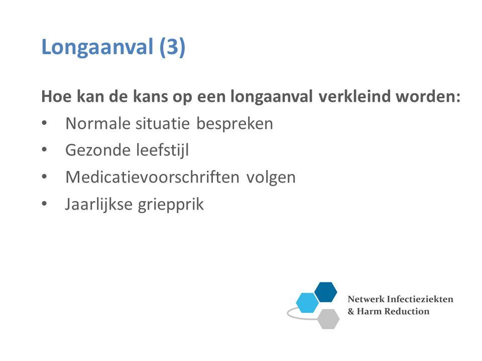 Longaanval (3) Hoe kan de kans op een longaanval verkleind worden: Normale situatie bespreken Gezonde leefstijl Medicatievoorschriften volgen Jaarlijkse griepprik