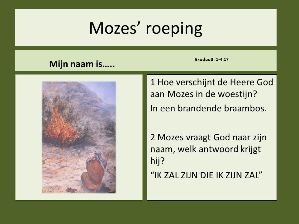 .. Mozes' roeping Mijn naam is….. Exodus 3: 1-4:17 1 Hoe verschijnt de Heere God aan Mozes in de woestijn? In een brandende braambos. 2 Mozes vraagt G