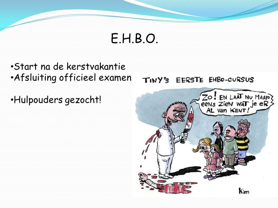 E.H.B.O. Start na de kerstvakantie Afsluiting officieel examen Hulpouders gezocht!