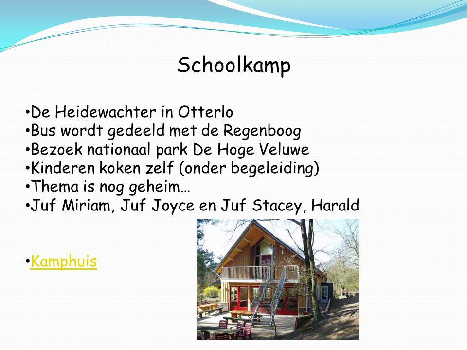 Schoolkamp De Heidewachter in Otterlo Bus wordt gedeeld met de Regenboog Bezoek nationaal park De Hoge Veluwe Kinderen koken zelf (onder begeleiding)