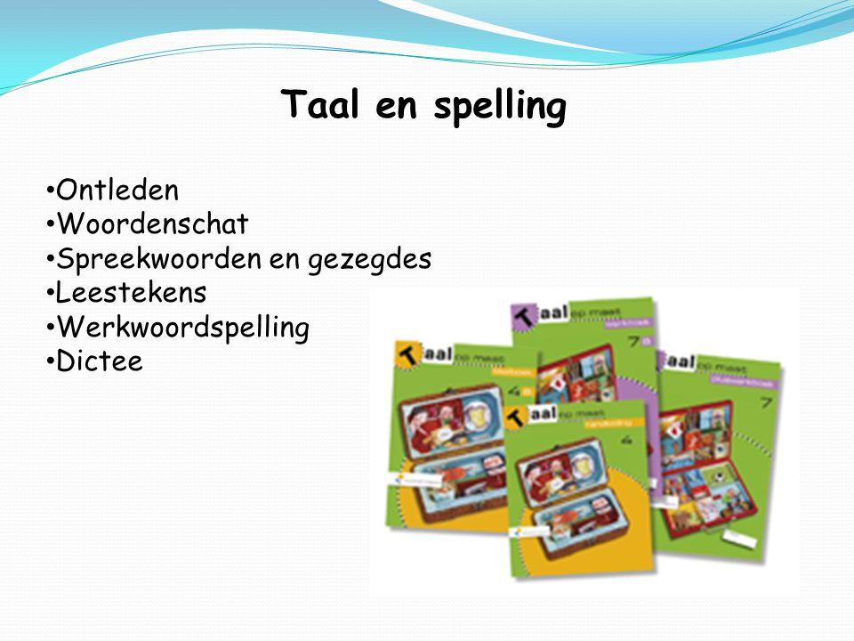 Taal en spelling Ontleden Woordenschat Spreekwoorden en gezegdes Leestekens Werkwoordspelling Dictee