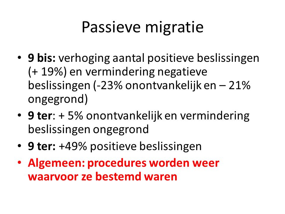 Passieve migratie 9 bis: verhoging aantal positieve beslissingen (+ 19%) en vermindering negatieve beslissingen (-23% onontvankelijk en – 21% ongegron