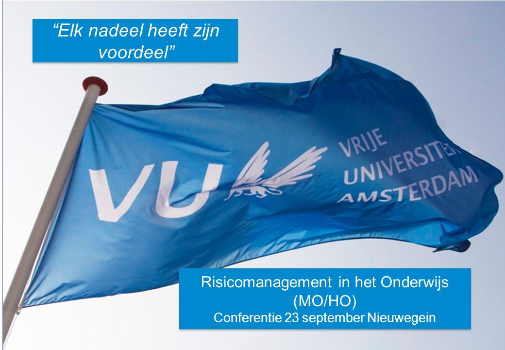 22 Vrije Universiteit Amsterdam CONCLUSIES / AANBEVELINGEN 1.