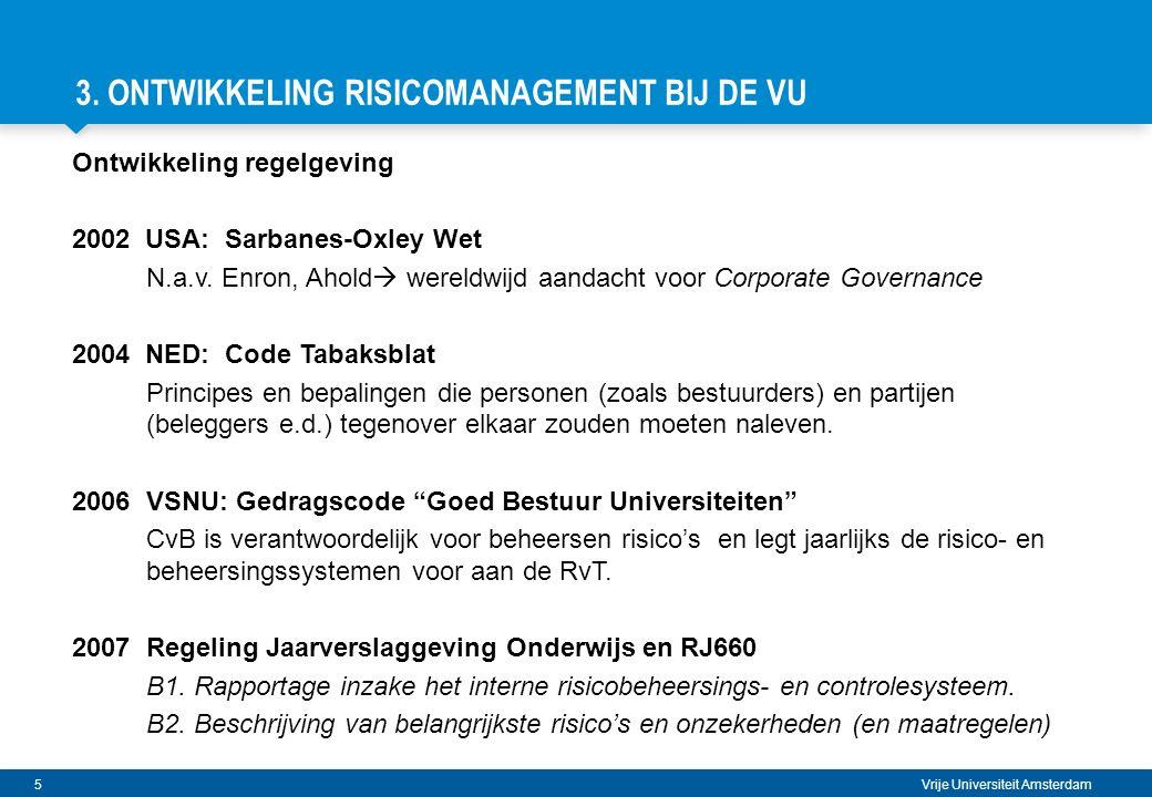 16 Vrije Universiteit Amsterdam VERMIJDBARE RISICO'S Welke vermijdbare gebeurtenissen kunnen mijn reguliere processen verstoren.