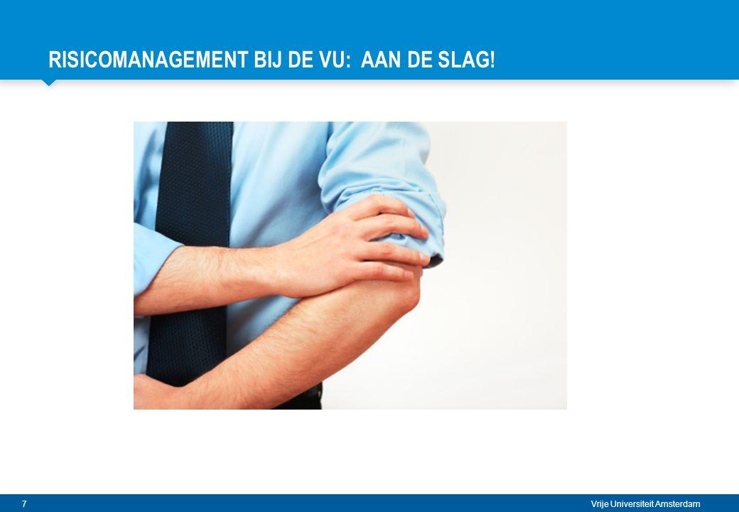 8 Vrije Universiteit Amsterdam RISICOMANAGEMENT: OPSTART BIJ DE VU 2009 Start invoering integraal systeem van risicomanagement  Strategische Risico Analyse i.s.m.