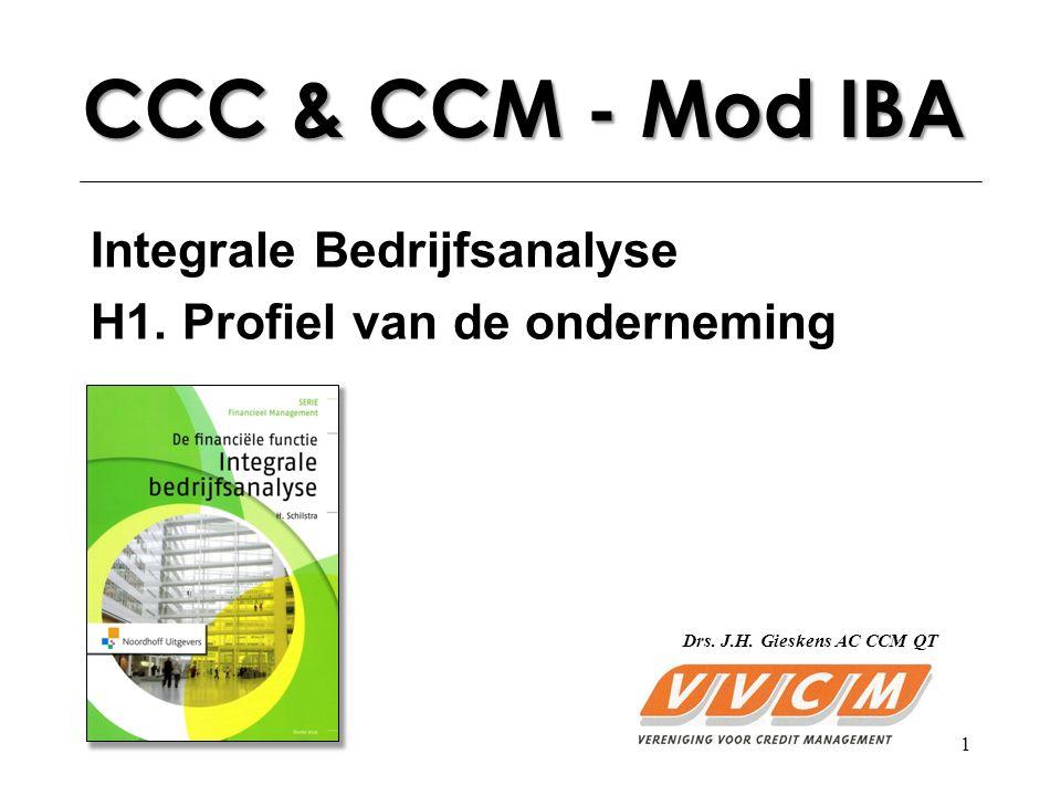 1 CCC & CCM - Mod IBA Integrale Bedrijfsanalyse H1. Profiel van de onderneming Drs. J.H. Gieskens AC CCM QT
