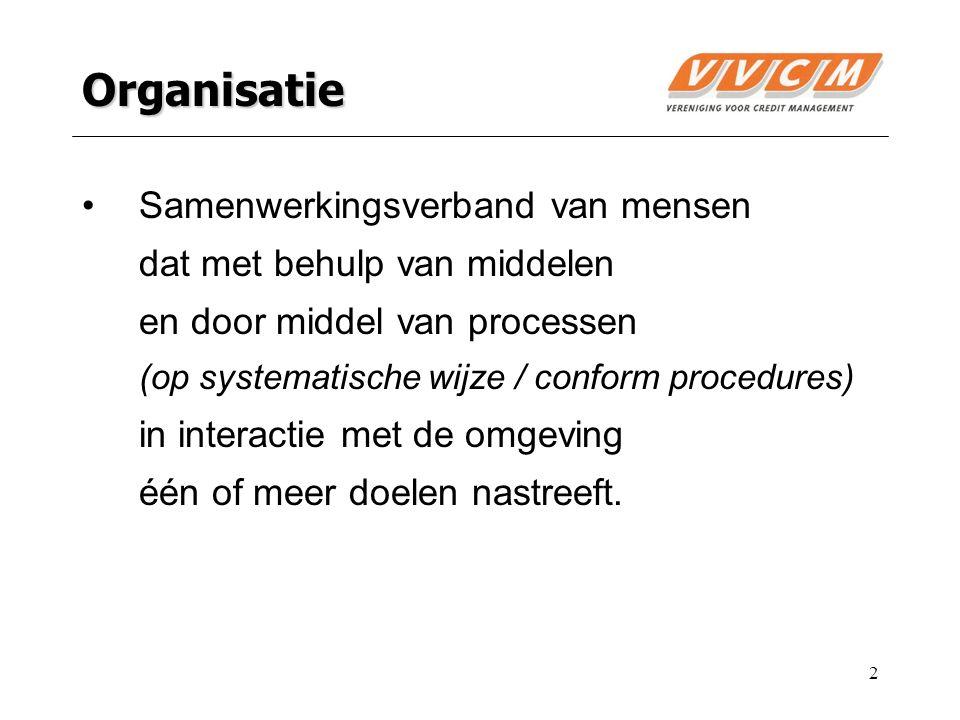 2 Organisatie Samenwerkingsverband van mensen dat met behulp van middelen en door middel van processen (op systematische wijze / conform procedures) i