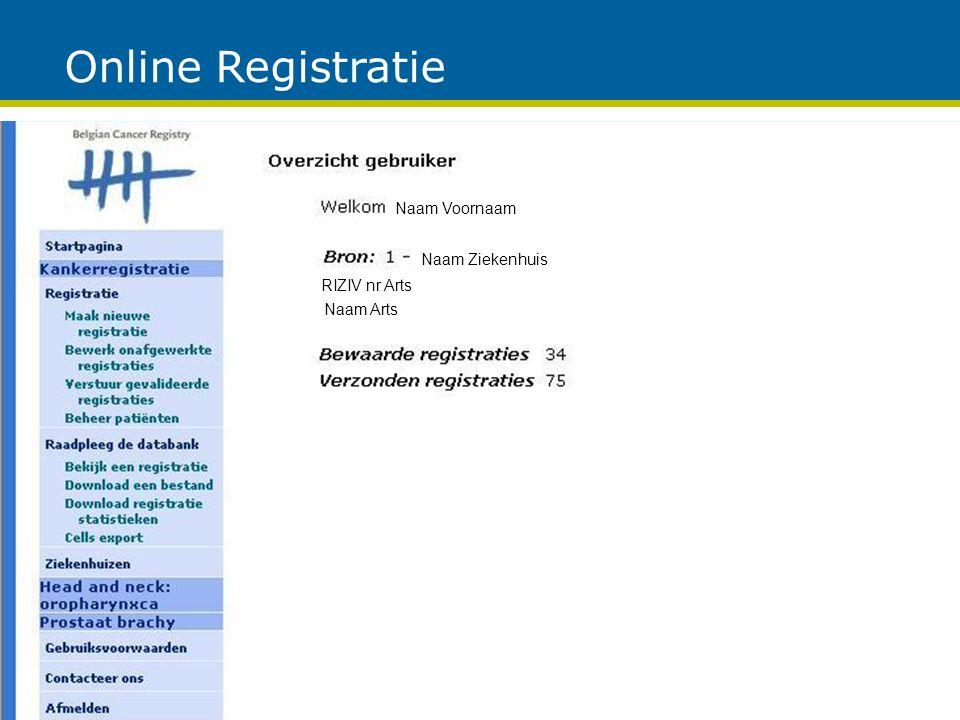 Online Registratie Naam Voornaam Naam Arts RIZIV nr Arts Naam Ziekenhuis
