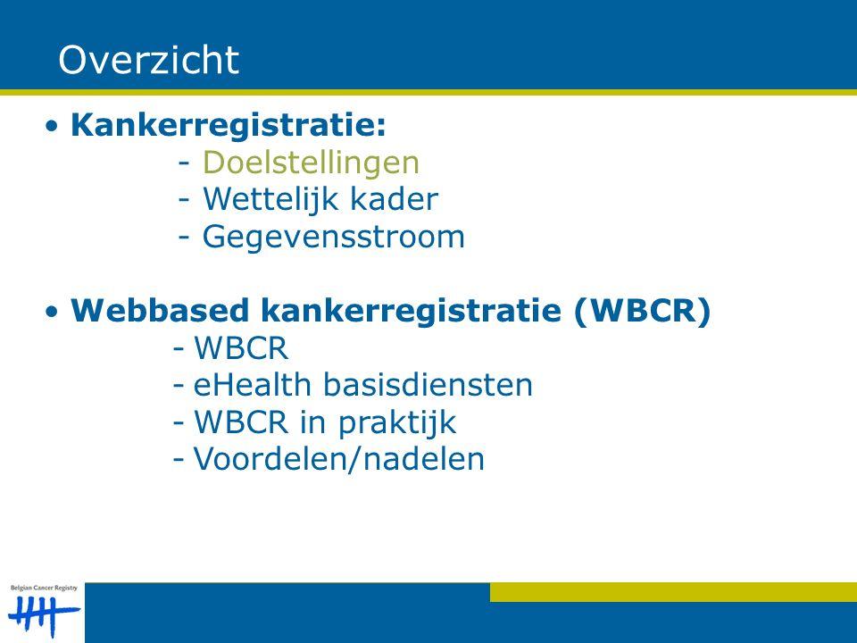 Overzicht Kankerregistratie: - Doelstellingen - Wettelijk kader - Gegevensstroom Webbased kankerregistratie (WBCR) -WBCR -eHealth basisdiensten -WBCR in praktijk -Voordelen/nadelen
