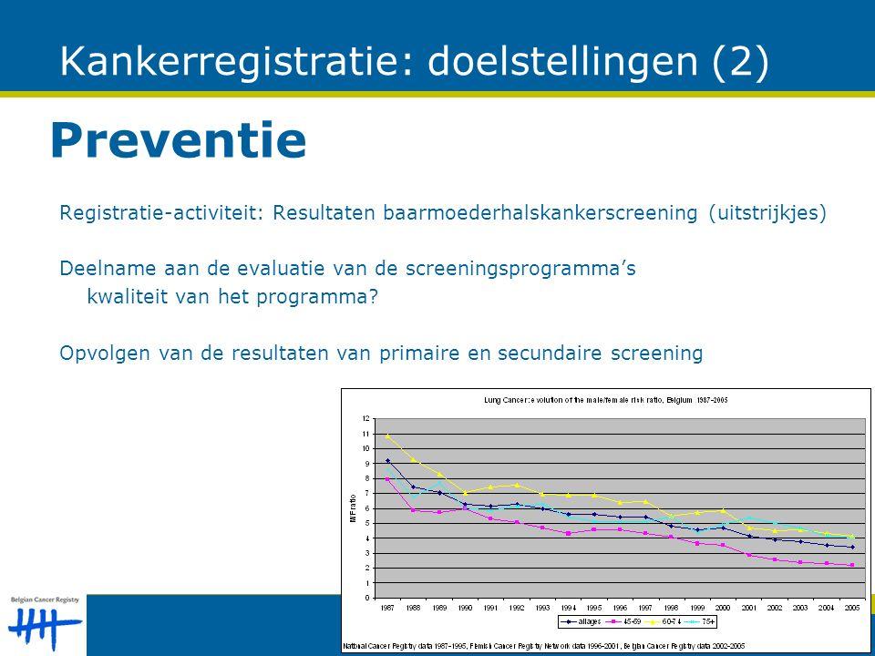 Kankerregistratie: doelstellingen (2) Preventie Registratie-activiteit: Resultaten baarmoederhalskankerscreening (uitstrijkjes) Deelname aan de evaluatie van de screeningsprogramma's kwaliteit van het programma.