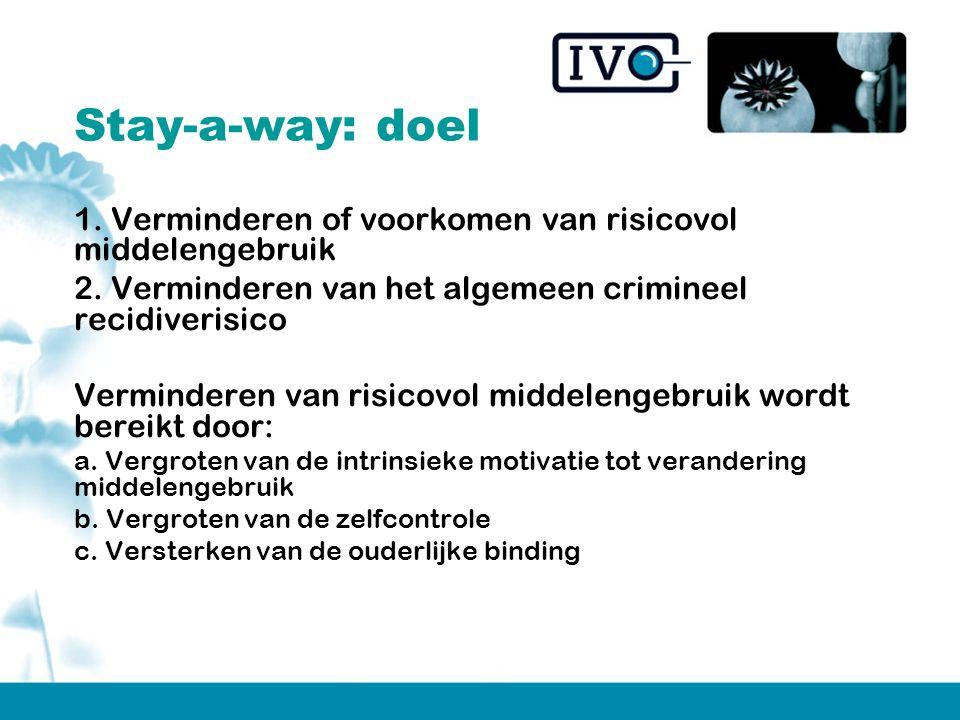 Stay-a-way: doel 1. Verminderen of voorkomen van risicovol middelengebruik 2.
